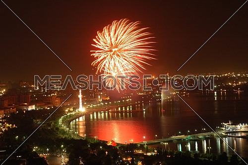 Fireworks on Independence Day in Baku, Azerbaijan