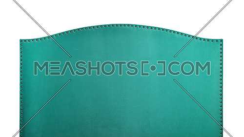 Turquoise green soft velvet fabric shaped bed headboard isolated on white background, front view