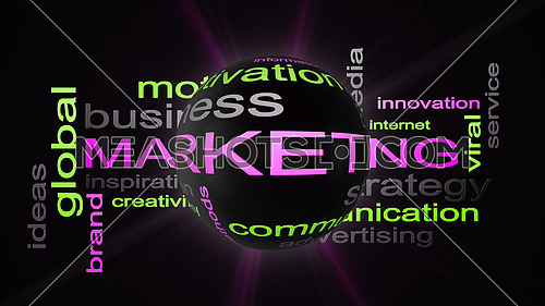 Marketing Business Strategy Word Cloud Text Concept With Sphere 3D Rendering