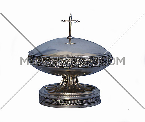Utensil of silver from the 18th century, composed of two parts, container and lid, to keep the oleos sacred sacraments Catholics isolated on white background