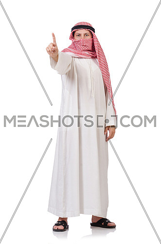 Bedouin  pressing virtual buttons isolated on whiteisolated on white