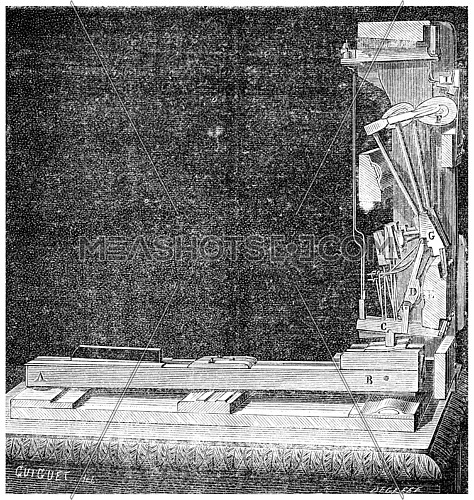 Mechanism of an upright piano, vintage engraved illustration. Industrial encyclopedia E.-O. Lami - 1875.