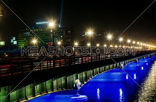 Zoom Out Shot for Qasr Al Nile Bridge at Night