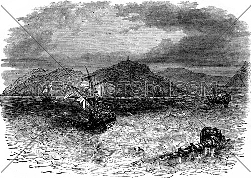 A naval battle. He took the collision three vessels, vintage engraved illustration. Journal des Voyage, Travel Journal, (1880-81).
