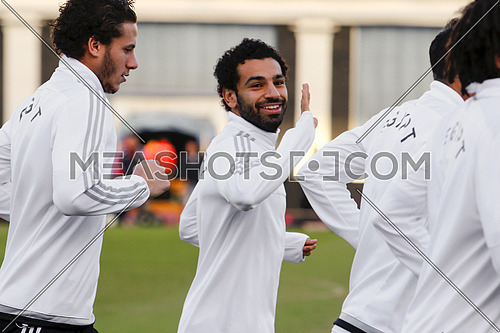 Mohamed Salah and Ramadan Sobhy during training for Egypt national football team on January 7 2017محمد صلاح و رمضان صبحي اثناء التمربن