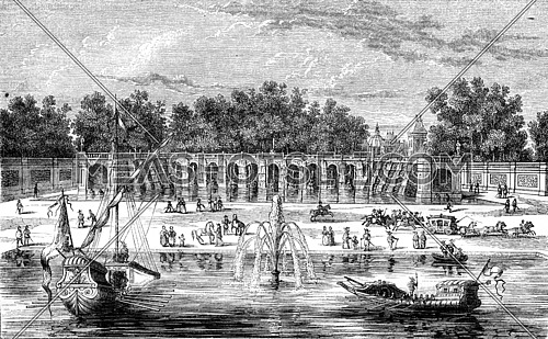 Former waterfalls at Fontainebleau, vintage engraved illustration. Magasin Pittoresque 1846.