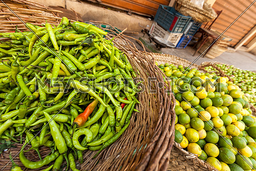 chili pepper and lemon in an outdoor market
