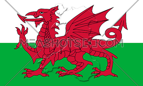 Wales National Flag With Map Of Country On It 3D illustration