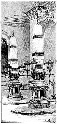 The towers of the roundhouse followers, vintage engraved illustration. Paris - Auguste VITU – 1890.