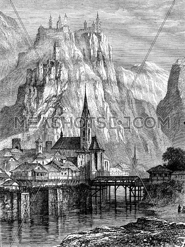Klausen and Convent Seben on the Sonnenberg, Tyrol, vintage engraved illustration. Magasin Pittoresque 1867.