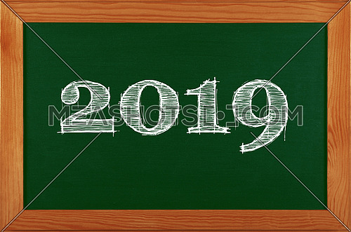 Green school chalkboard blackboard sign in brown wooden frame with 2019 chalk text