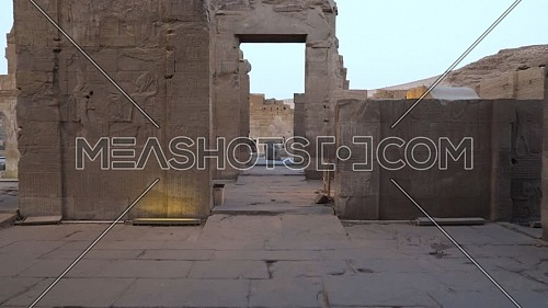 Track in inside The Temple of Kom Ombo - Aswan, Egypt. by day