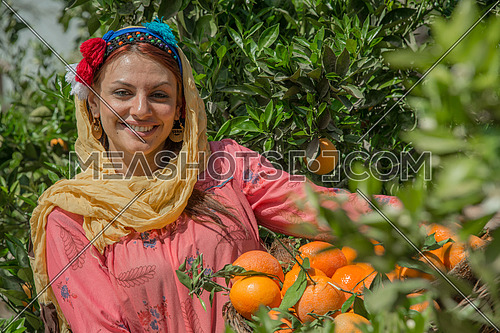 An egyptian female farmer carrying a basket full of tangerine