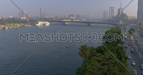 Aerial Shot for the river nile showing Bridge and traffic in cairo at day
