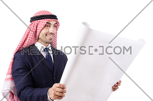 Arab engineer with drawings on white