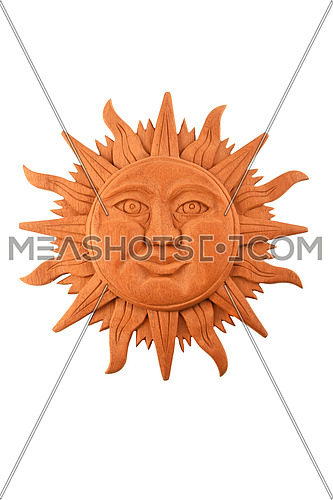 Mexican traditional Mayan culture wooden carved sun symbol plate isolated on white