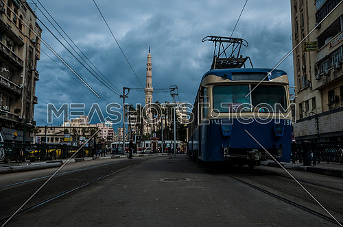 Long shot for Al Qaaed Ibrahim Basha Mousque showing traffic and trams
