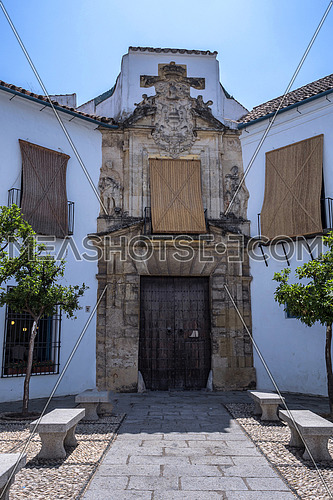 Cordoba, Spain - July 9, 2017: The palace of Viana's Marquesses is a palace - museum of the city, earlier known as Palace of the Grills of Don Gome, placed in the quarter of Santa Marina, Cordoba, Spain