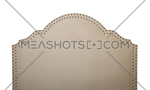 Beige or pastel brown soft velvet fabric shaped bed headboard isolated on white background, front view