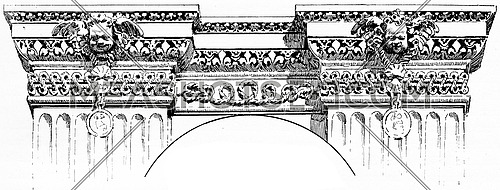 Details of a frieze for the Louvre palace, vintage engraved illustration. Paris - Auguste VITU – 1890.