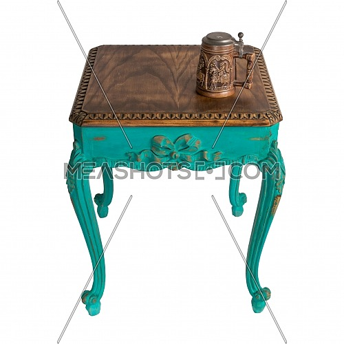 Vintage Furniture - Retro wooden vintage table with green painted legs and teapot isolated on white background including clipping path