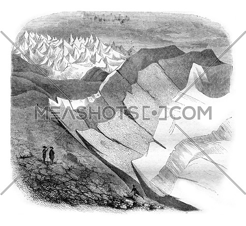 Glaciers, Third and final article, vintage engraved illustration. Magasin Pittoresque 1842.