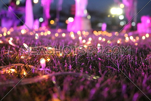 purple lights on the ground