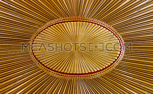 Decorated golden wooden ceiling with design based on the old flag of the ottoman empire