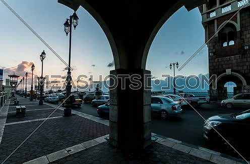Fixed shot for traffic at Stanly Bridge Towers at Alexandria from Day to Night