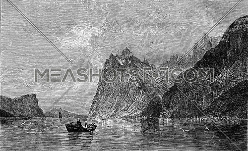 A Fiord, painting by TO. Norman, vintage engraved illustration. Magasin Pittoresque 1880.