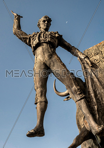 Bronze statue of tribute to the bullfighter Jose Cubero Yiyo in the bullring of sales of Madrid, Spain