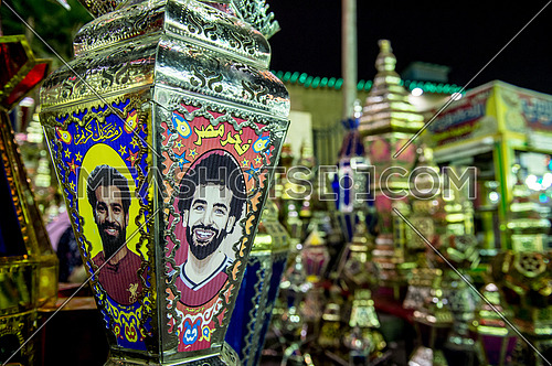 The lanterns of the holy month of Ramadan with Mohamed Salah Photo on it.