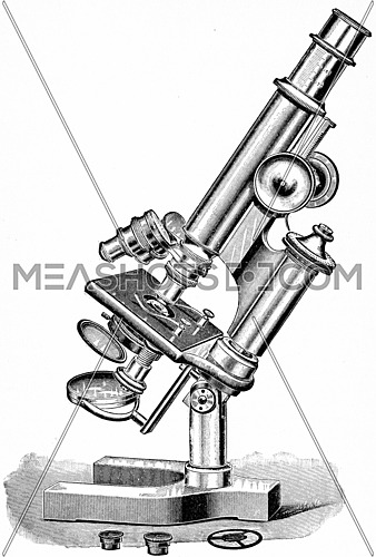 Microscope suitable for general pathologic and bacteriologic work, vintage engraved illustration.