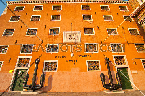 Venice Italy Naval museum front view with the enormous anchors at sestriere of Castello