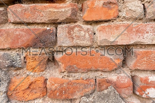Orange red brick wall pattern. Orange brick texture.close up.