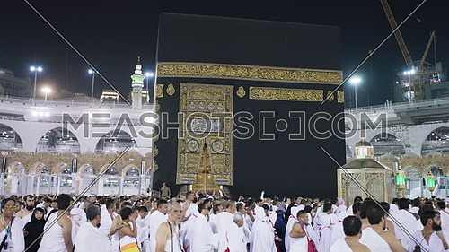 Muslim People while (Tawaf) at Kaaba for Pilgrimage.