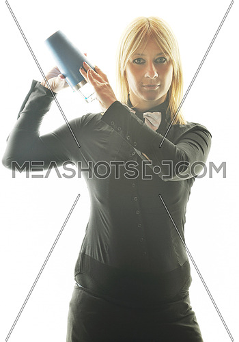 female bartender making coctail alcohol drink isolated on white background in studio