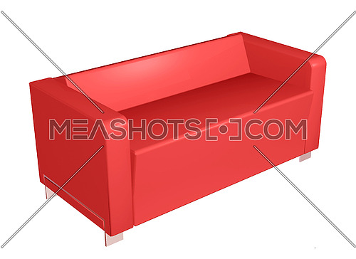 All leather sofa, red, 3D illustration