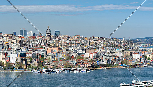 Istanbul, Turkey - April 19, 2017: Istanbul city view from Suleymaniye Mosque overlooking the Golden Horn with Galata Tower in the background, Istanbul, Turkey