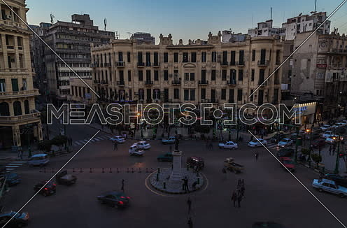 Fixed Shot for Traffic at Talat Harb Street at Cairo at Day to night