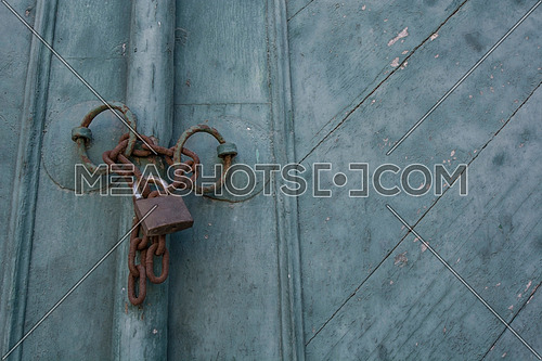Old padlock on a wooden door Mediterranean Sea,Cyprus