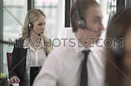 Call center employees helping clients customer support concept