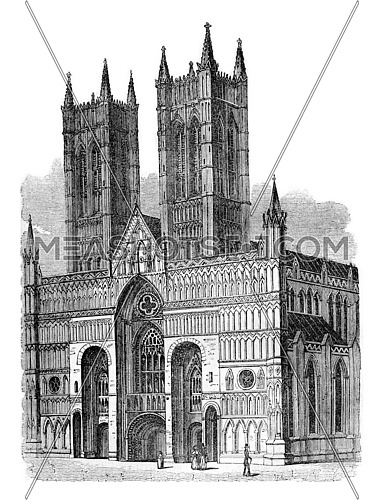 Lincoln Cathedral, west facade, vintage engraved illustration. Colorful History of England, 1837.