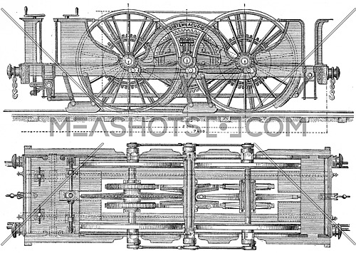 Exterior view plane and locomotor Agudio, Provision proposed for transversee of access ramps Gotthard, vintage engraved illustration. Industrial encyclopedia E.-O. Lami - 1875.
