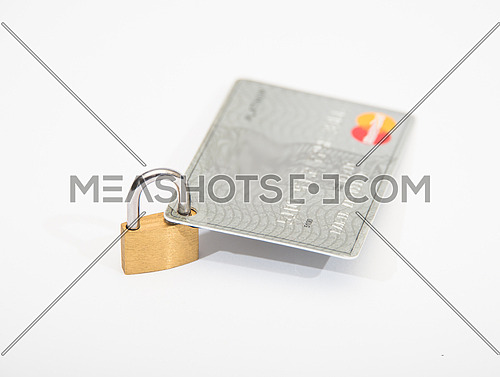 credit cards and lock security concept