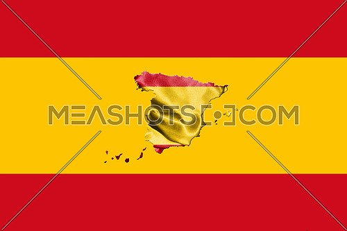 Spanish National Flag With Map Of Spain On It 3D illustration