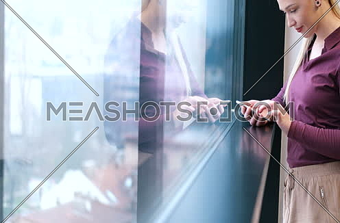 Elegant Bond Woman Using Mobile Phone by window in office building at day