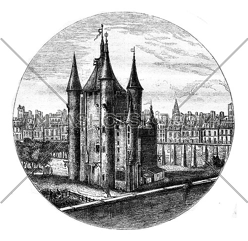 La Tour du Temple in Paris, drawing of the eighteenth century, vintage engraved illustration. Magasin Pittoresque 1877.