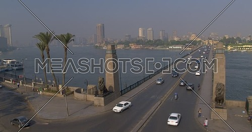 Pedestal Shot drone for Kasr Al nile Bridge Revealing Lions Statues and Cairo tower at day