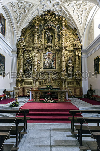 AVILA, SPAIN - august 2015, 11: Convento de la Encarnacion is a convent of Carmelite nuns closing, Known because he entered Saint Teresa of Jesus in 1535, The altarpiece is known as: Chapel of the Transverberacion, Avila, Spain